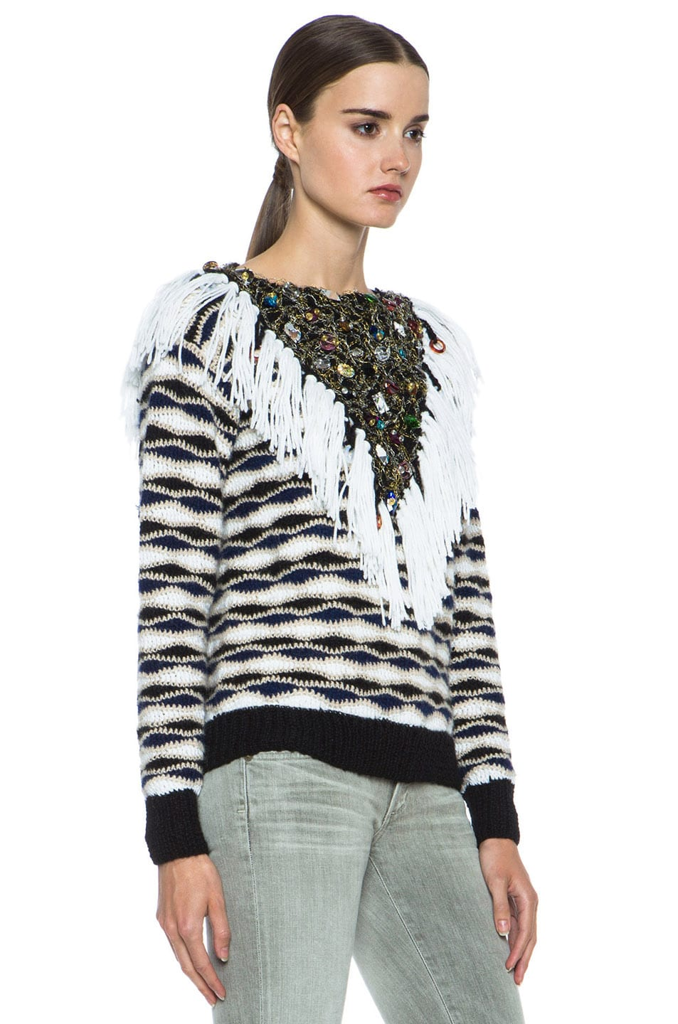 Image 3 of Rodarte Hand Crochet & Knit Sweater with Jeweled Collar in Black & White & Navy