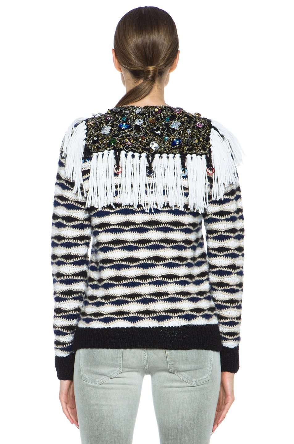 Image 4 of Rodarte Hand Crochet & Knit Sweater with Jeweled Collar in Black & White & Navy
