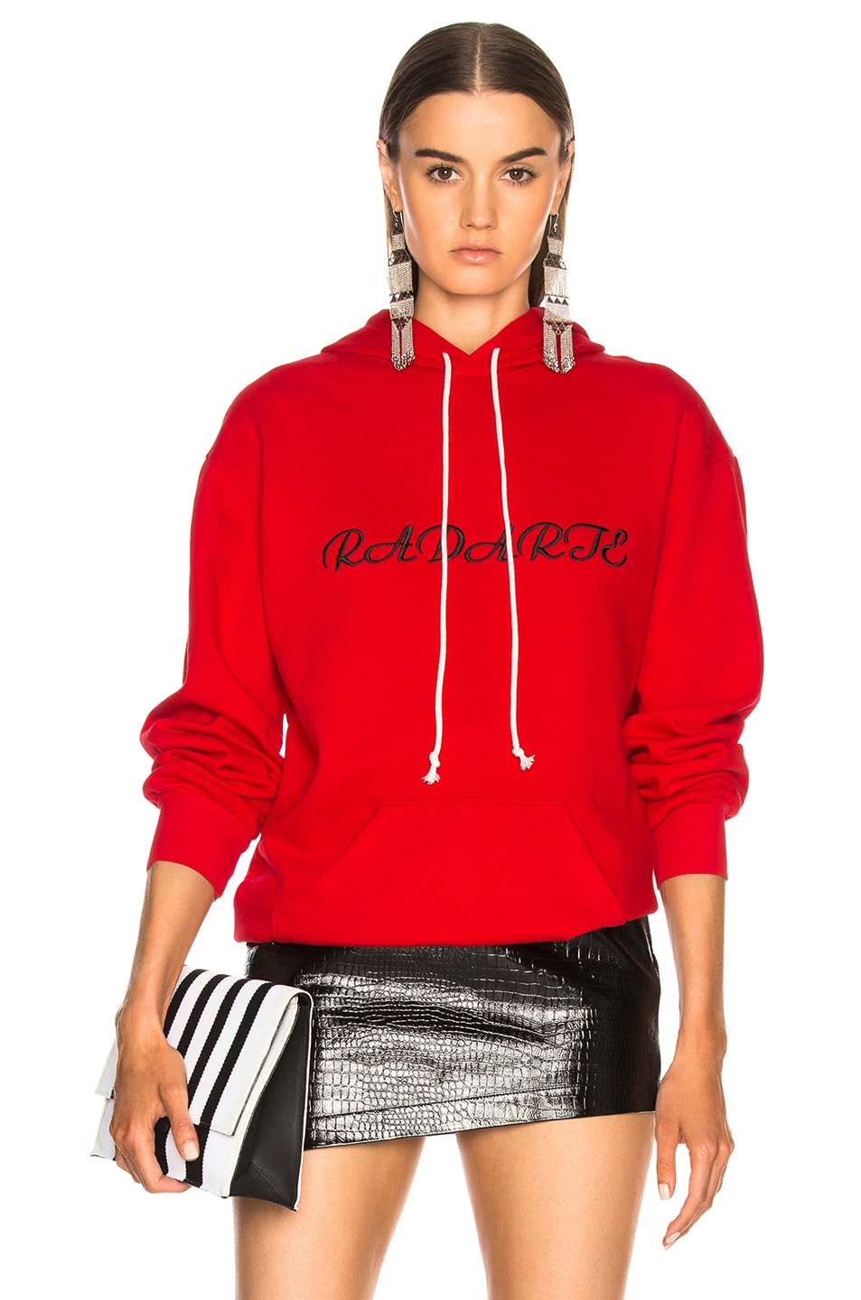 Image 1 of Rodarte Oversized Radarte Los Angeles Paris Embroidery Hoodie in Red & Black