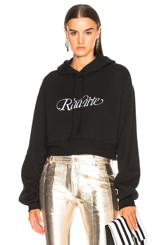 Image 1 of Rodarte Radarte Script Embroidery Cropped Hoodie in Black & White