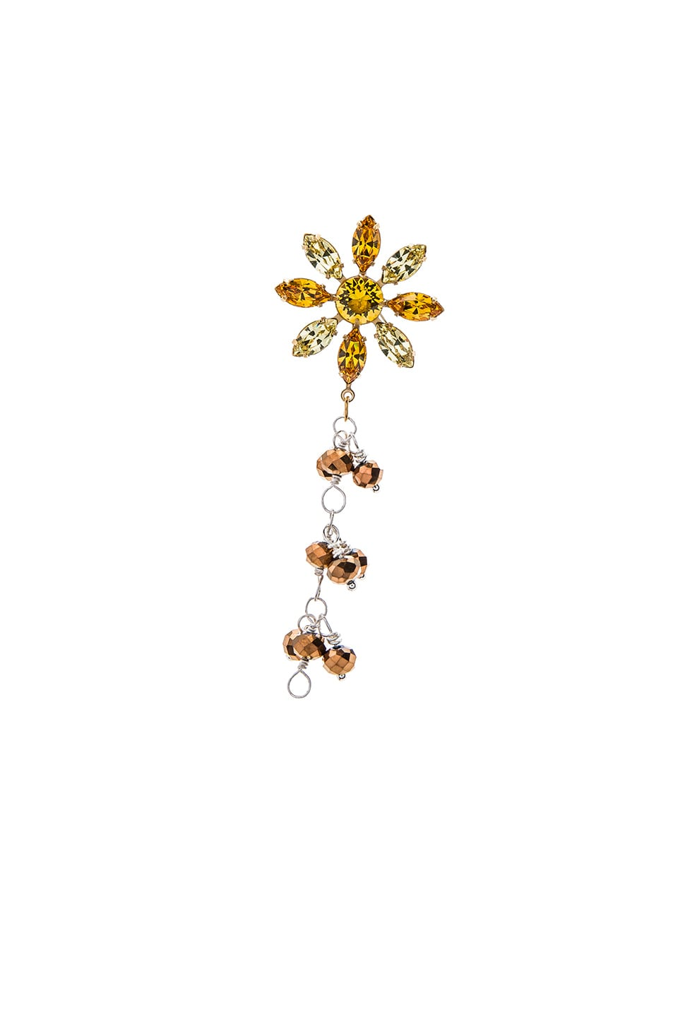 Image 4 of Rodarte Drop Earring With Flower Stud in Brass Nickel