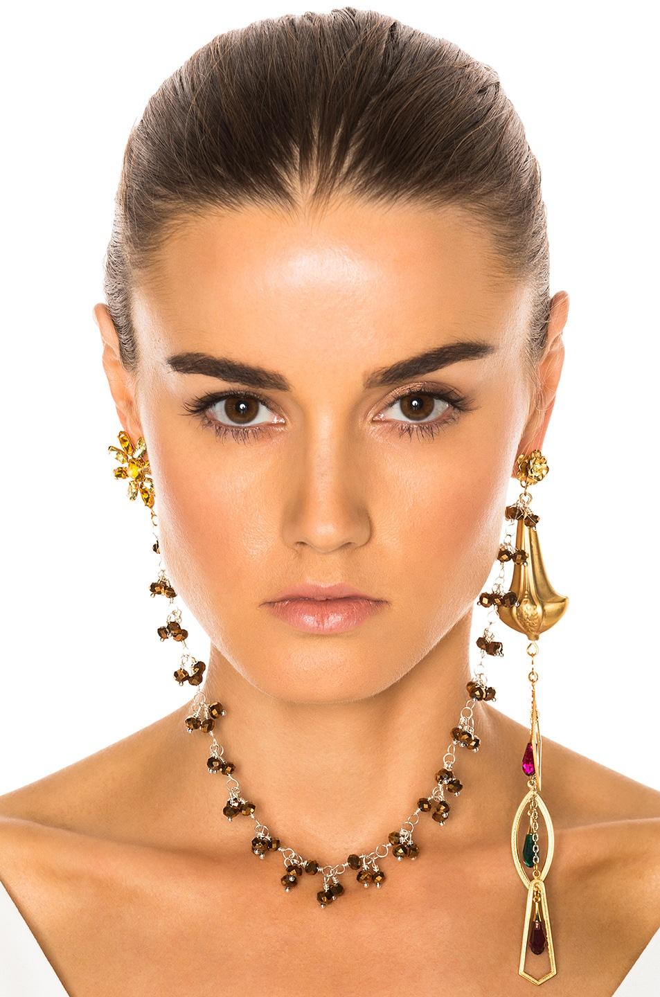 Image 5 of Rodarte Drop Earring With Flower Stud in Brass Nickel