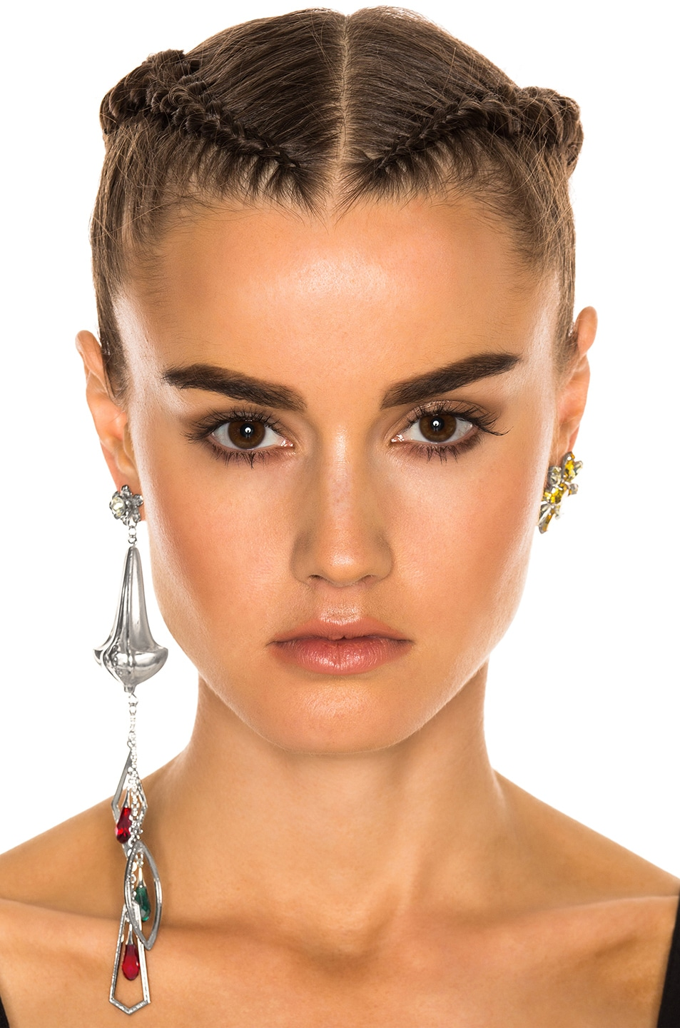 Image 4 of Rodarte Drop and Stud Earring Set in Bright Nickel