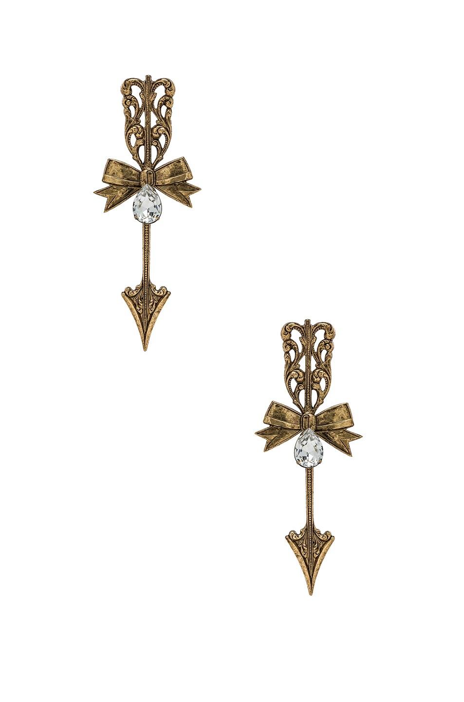Image 1 Of Rodarte Bow Arrow Earrings In Antique Gold