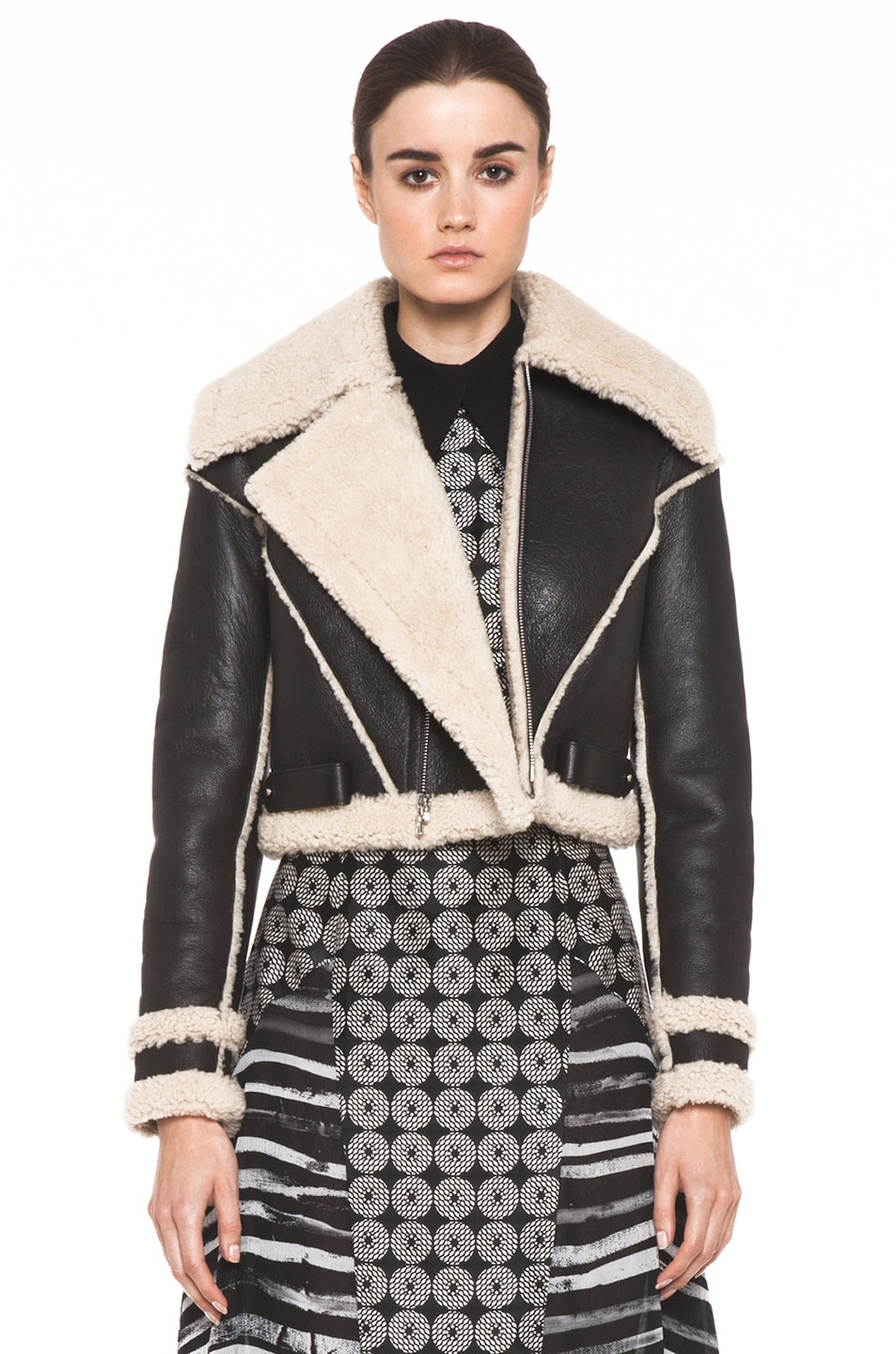 Image 1 of Rodarte Cropped Shearling Jacket in Black