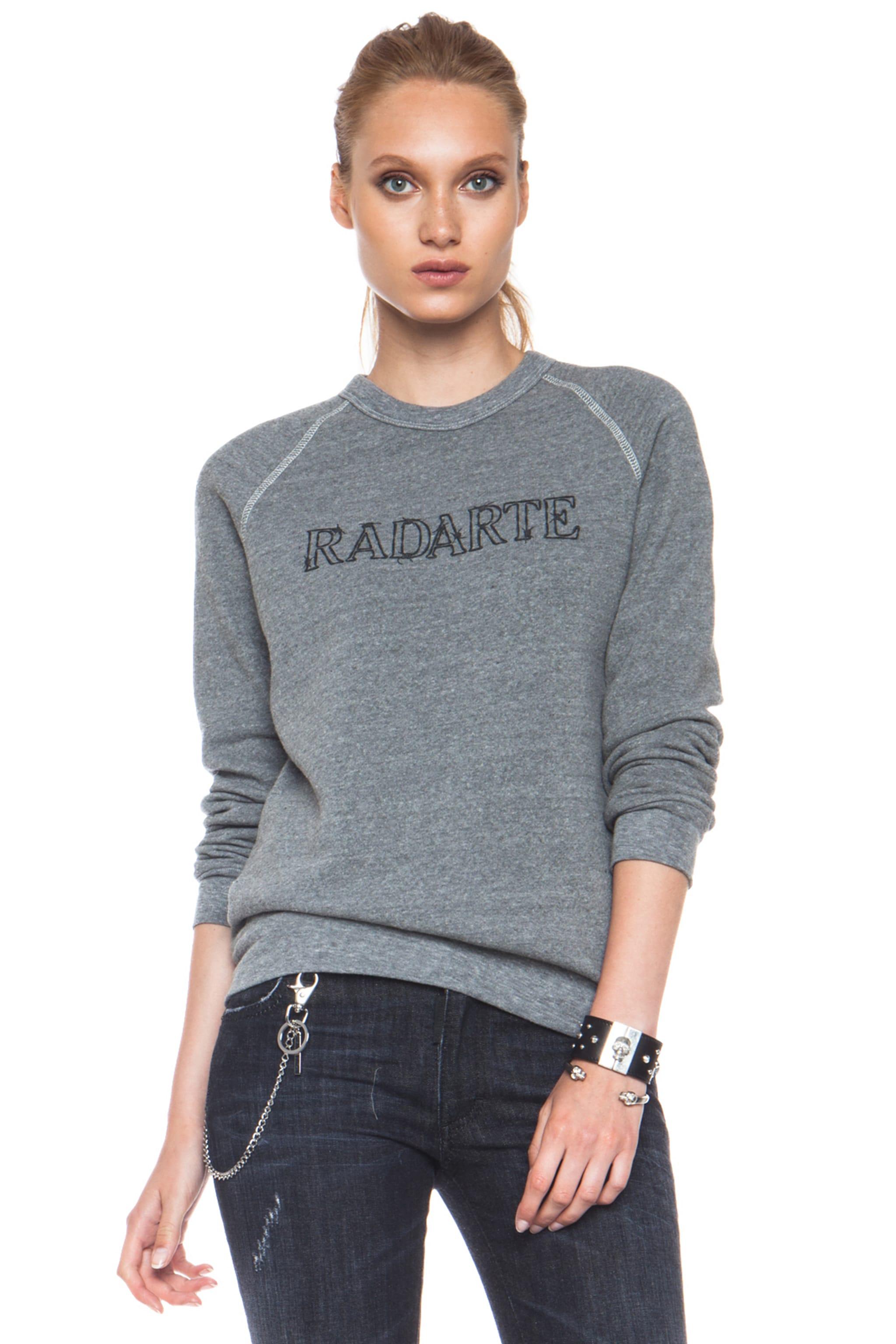 Image 1 of Rodarte Barbed Wire Poly-Blend Sweatshirt in Heather Grey
