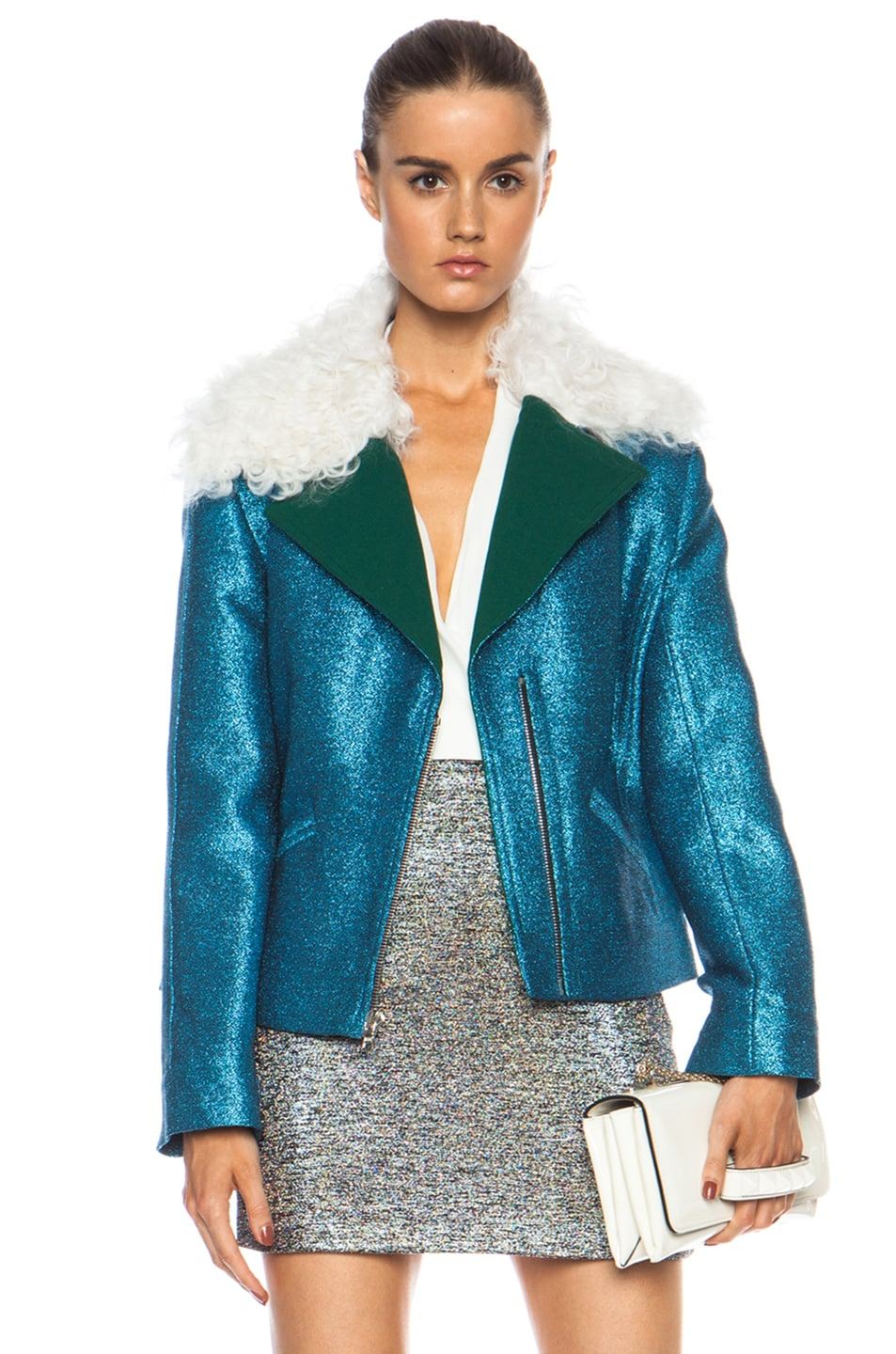 Image 1 of Rodarte EXCLUSIVE Glitter Cropped Viscose-Blend Jacket in Teal