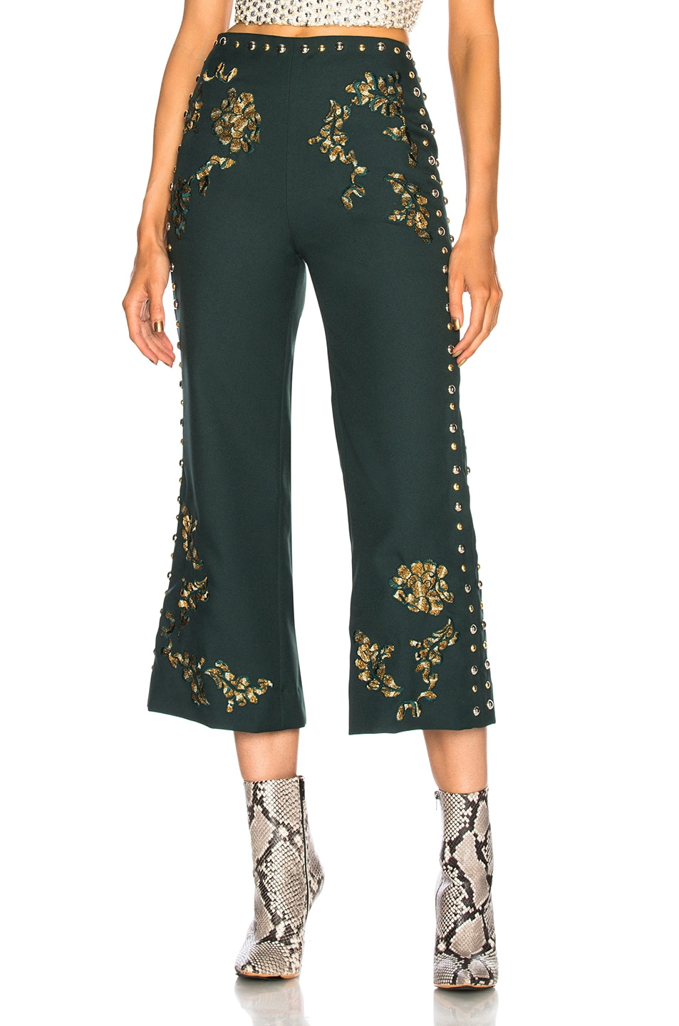 Image 1 of Rodarte Floral Metallic Embroidery & Studded Detail Pants in Dark Green & Gold