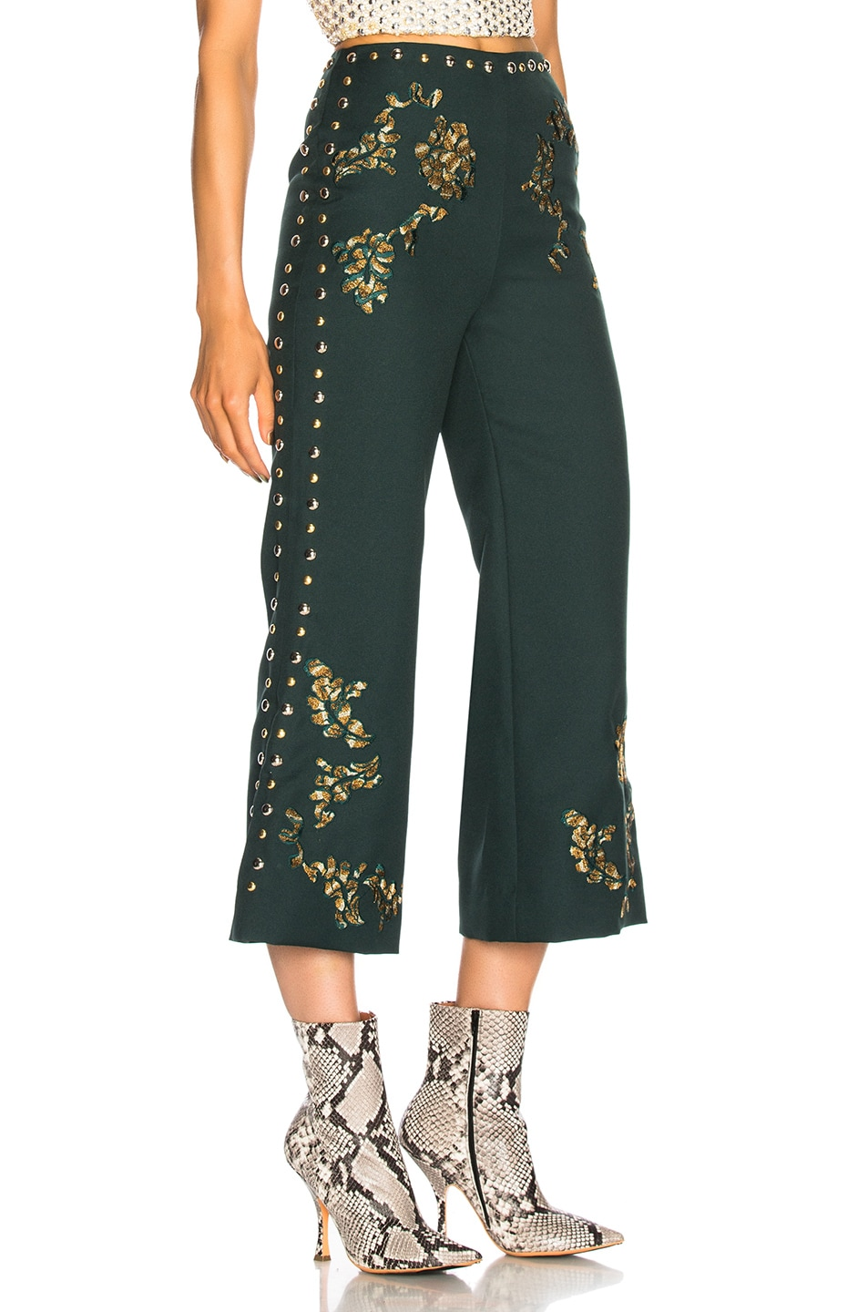 Image 2 of Rodarte Floral Metallic Embroidery & Studded Detail Pants in Dark Green & Gold