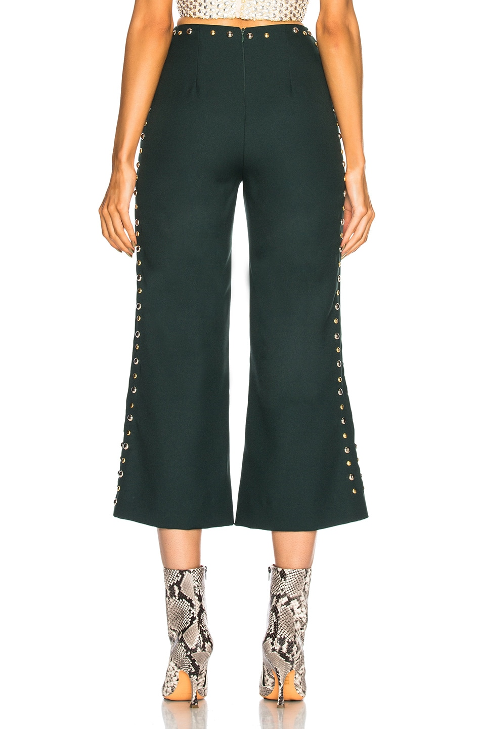 Image 3 of Rodarte Floral Metallic Embroidery & Studded Detail Pants in Dark Green & Gold