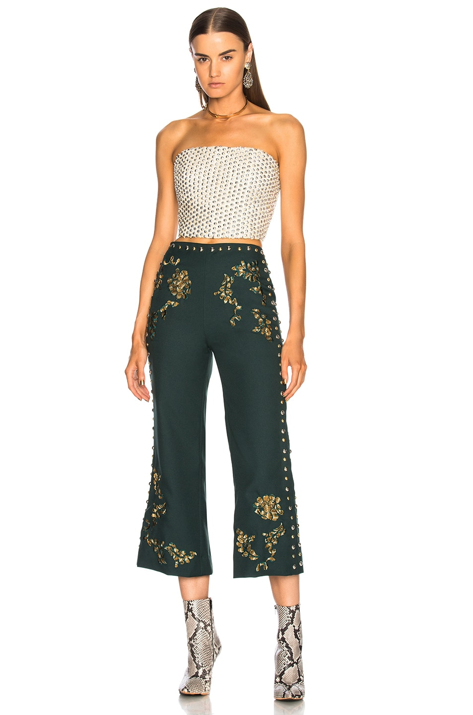 Image 4 of Rodarte Floral Metallic Embroidery & Studded Detail Pants in Dark Green & Gold