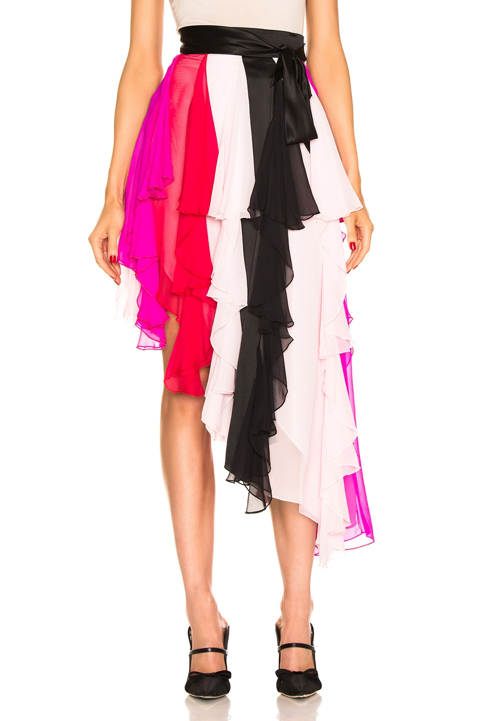 Image 1 of Rodarte Asymetrical Silk Chiffon Skirt in Multi