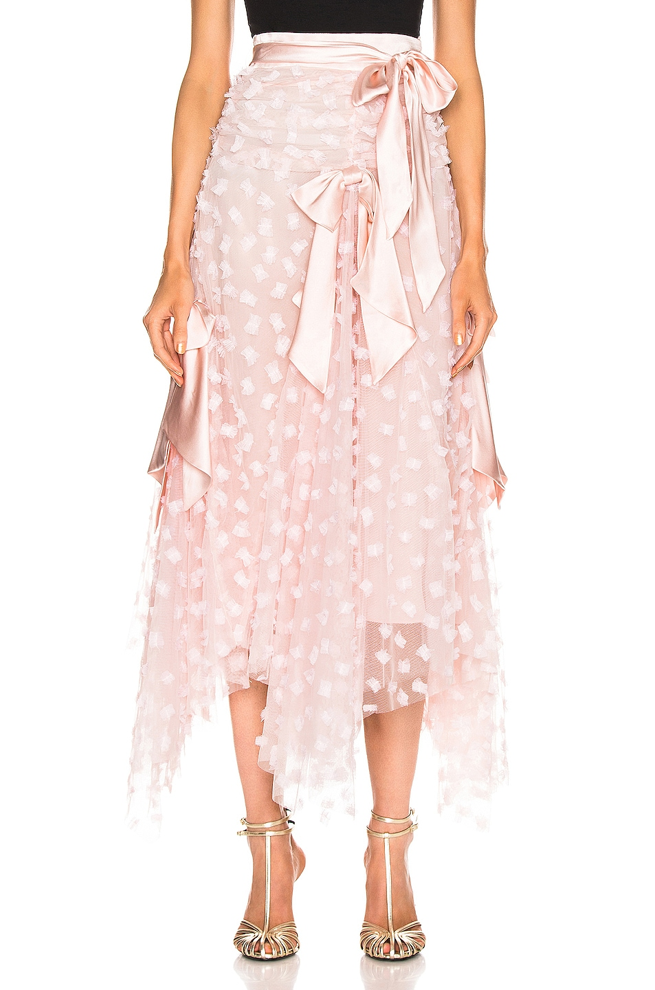 Image 1 of Rodarte Embroidered Bow Skirt in Pink