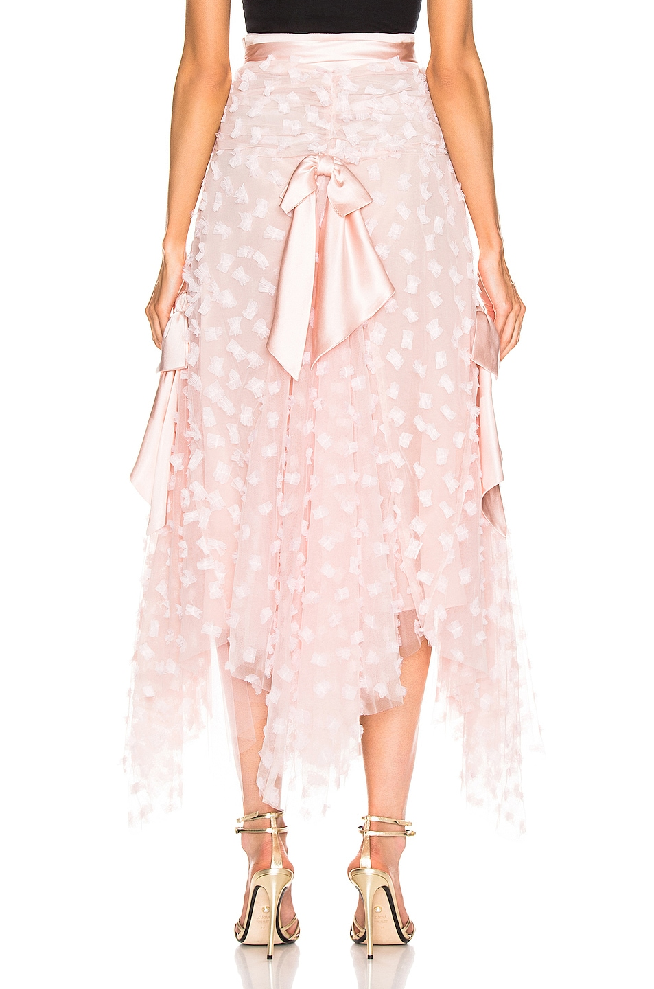 Image 3 of Rodarte Embroidered Bow Skirt in Pink