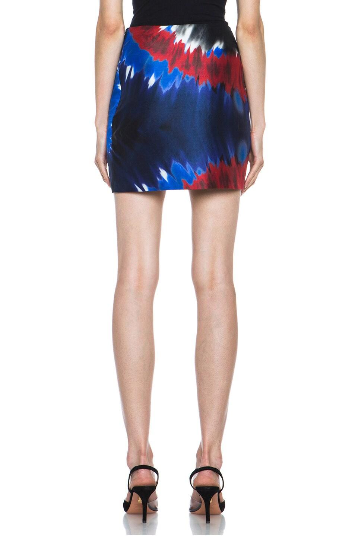 Image 4 of Rodarte Printed Tie Dye Silk Mini Skirt in Red & Blue & Black