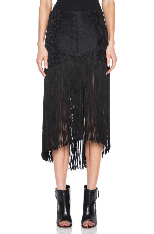 Image 1 of Rodarte Brocade Silk Skirt with Fringe in Black