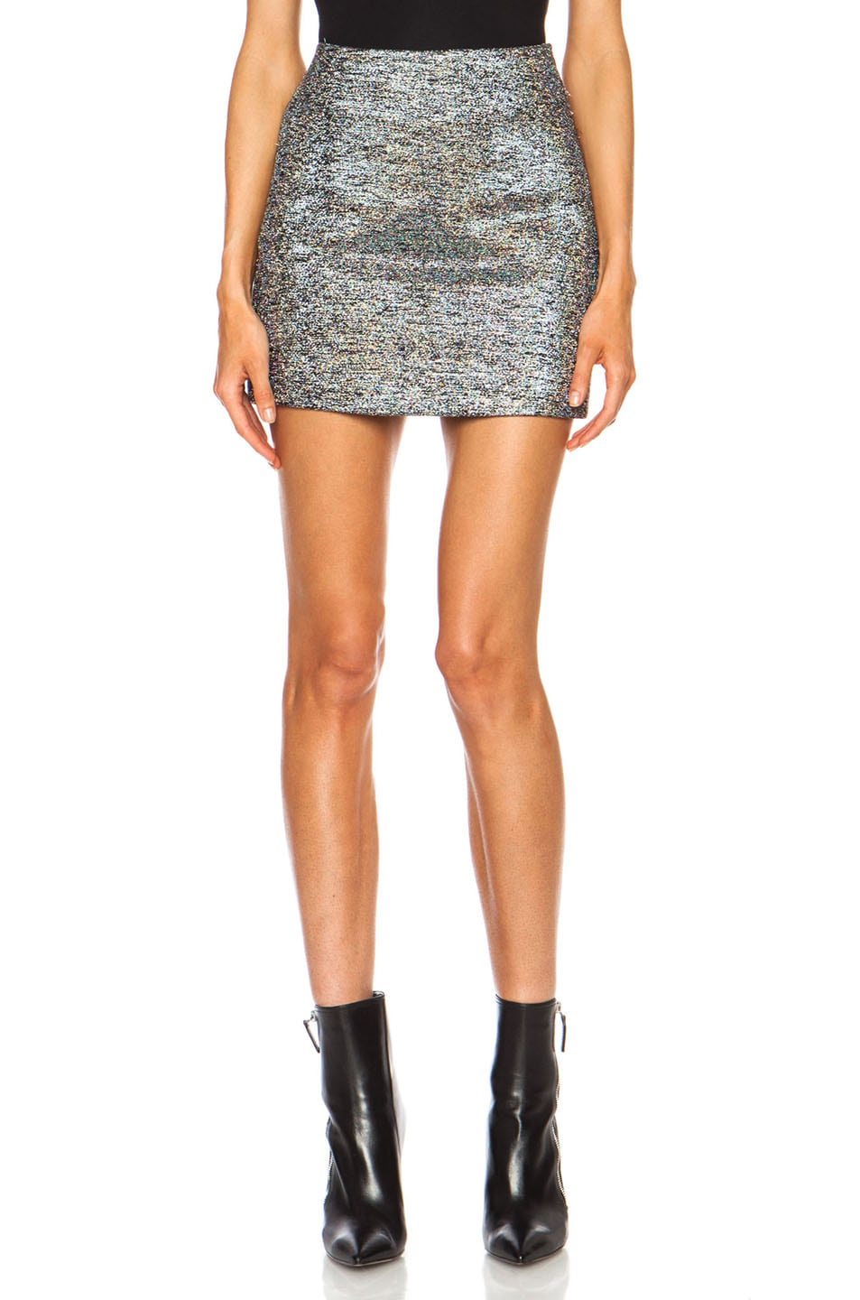 Image 1 of Rodarte Embroidered Wool Jacquard Mini Skirt in Silver