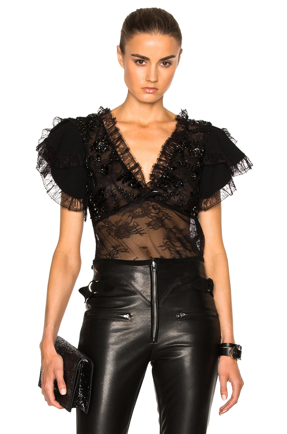 Image 1 of Rodarte Lace Trim and Laser Cut Detail Blouse in Black