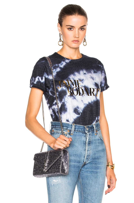 Image 1 of Rodarte Love Hate Foil Crystal Tie Dye T-Shirt in Navy & Gold