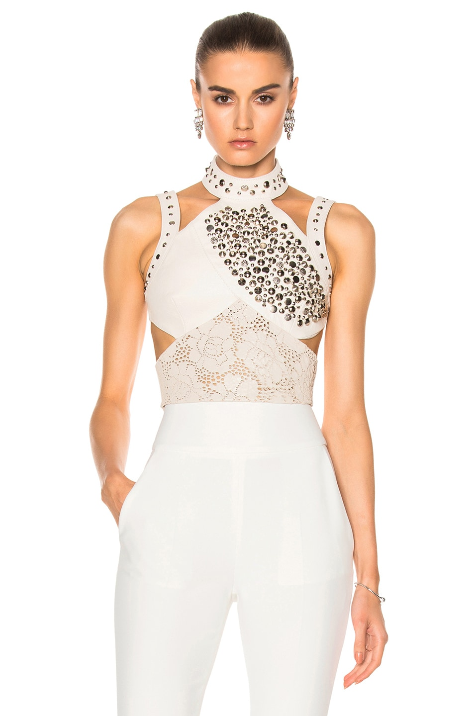 Image 1 of Rodarte Laser Cut Leather Top in White