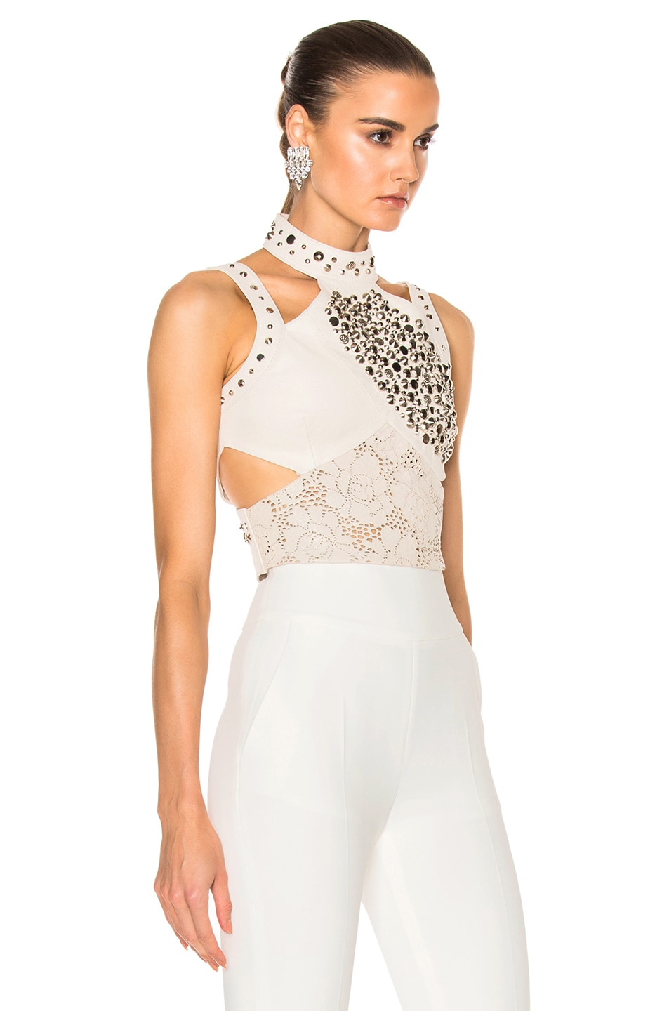 Image 3 of Rodarte Laser Cut Leather Top in White