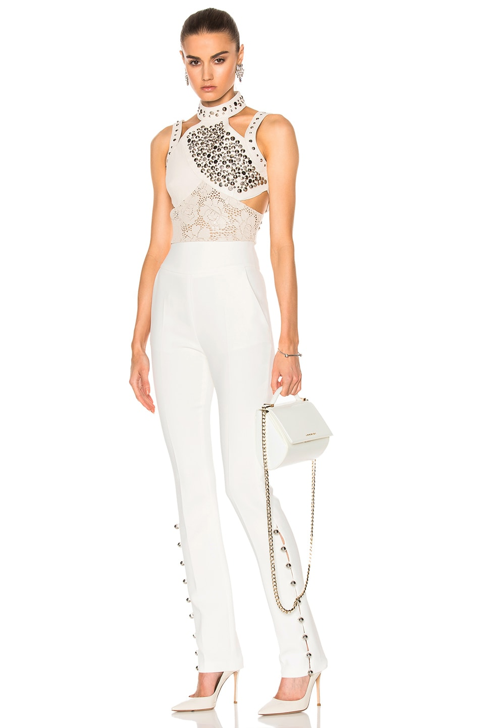 Image 5 of Rodarte Laser Cut Leather Top in White