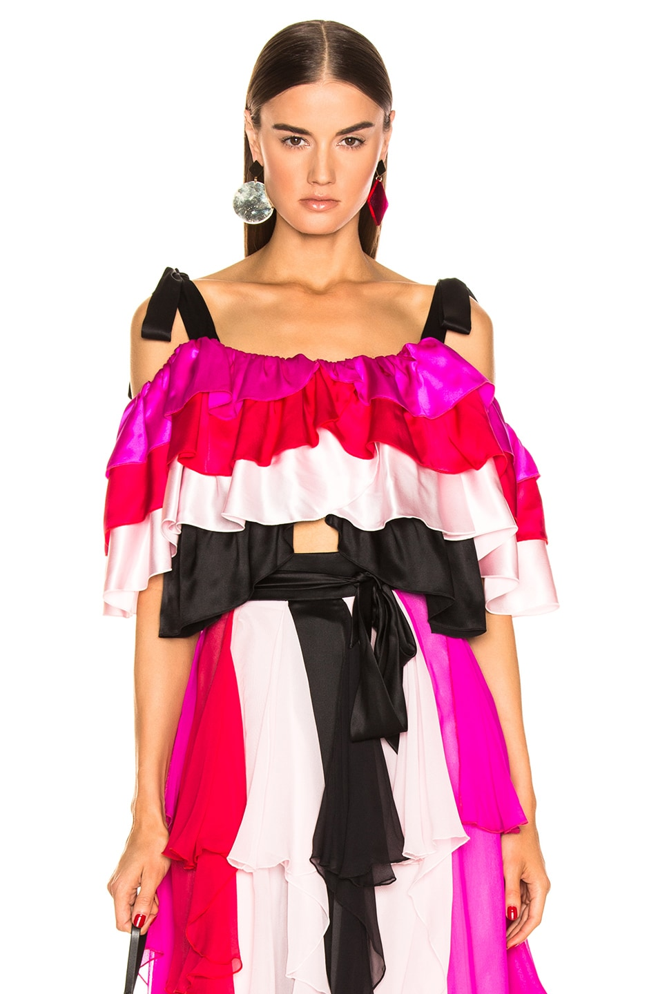 Image 1 of Rodarte Tiered Off the Shoulder Blouse in Multi