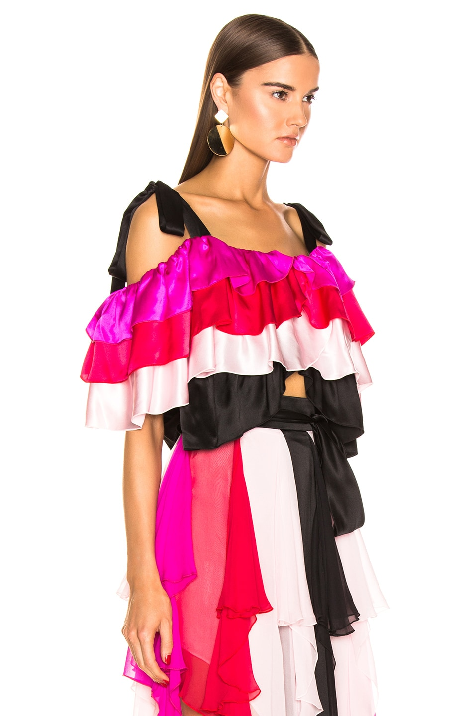 Image 2 of Rodarte Tiered Off the Shoulder Blouse in Multi