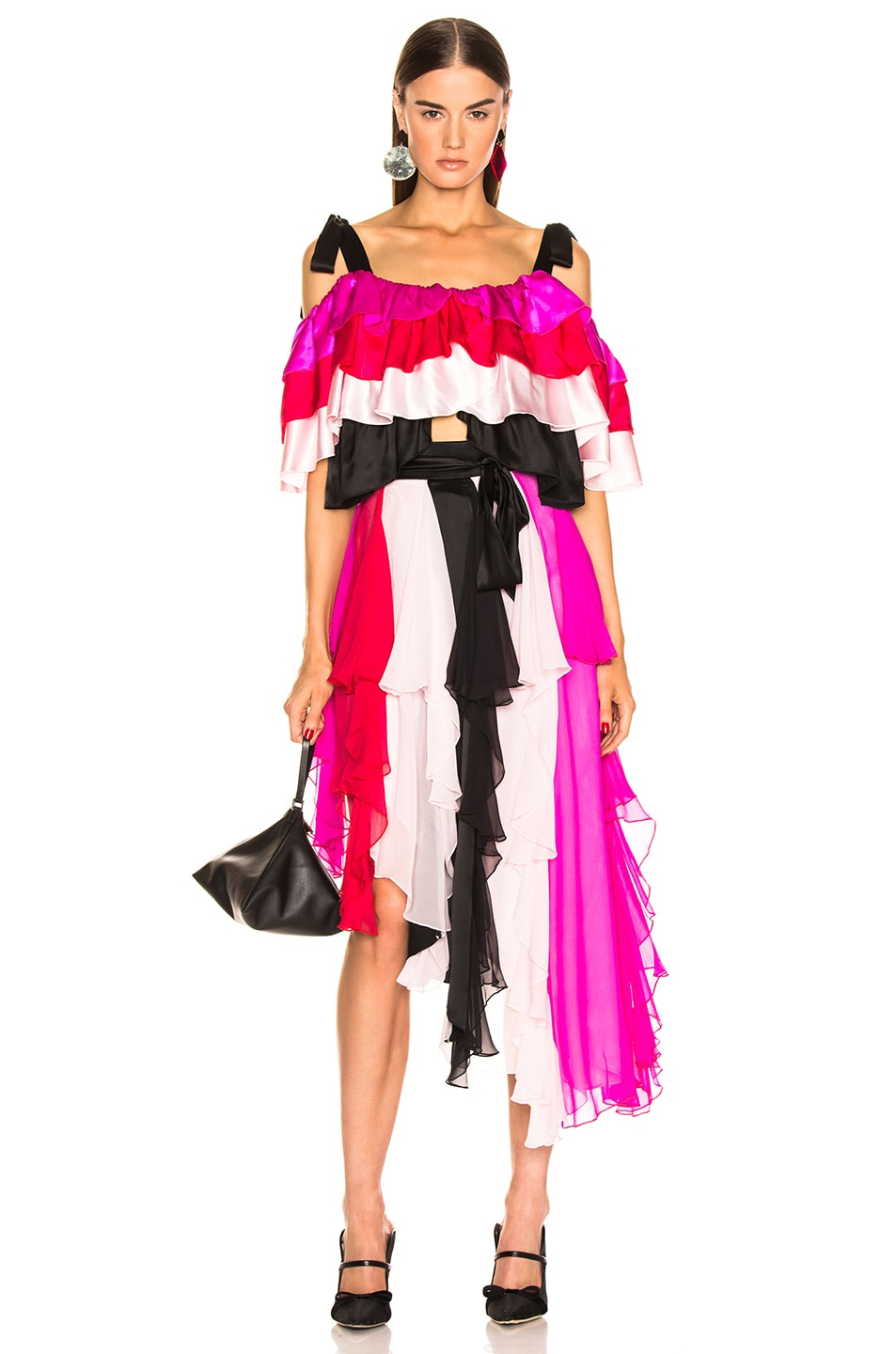 Image 4 of Rodarte Tiered Off the Shoulder Blouse in Multi