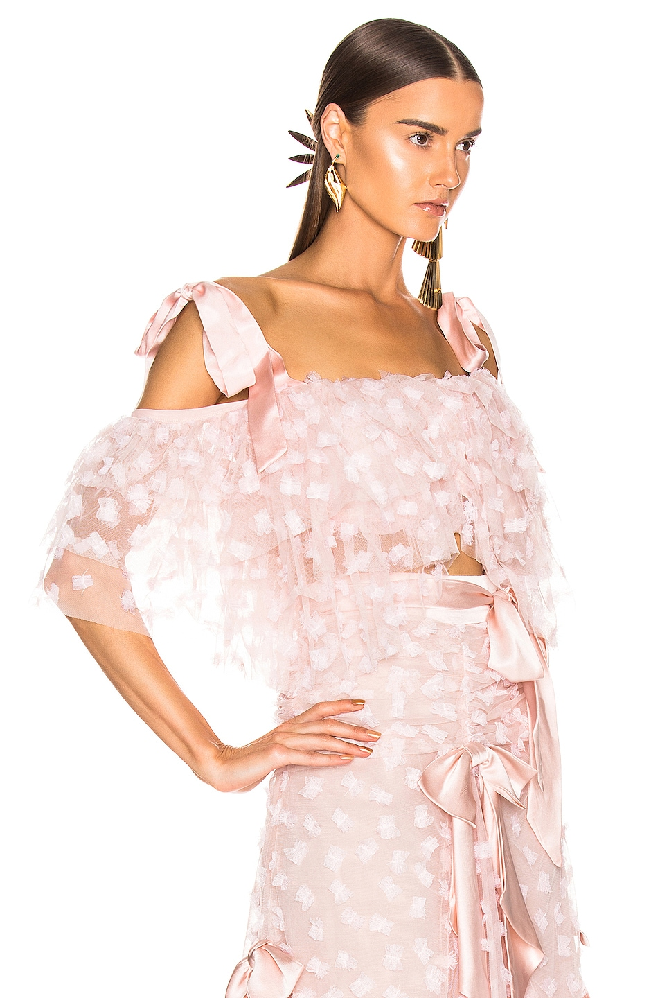 Image 2 of Rodarte Embroidered Bow Tiered Off the Shoulder Blouse in Pink