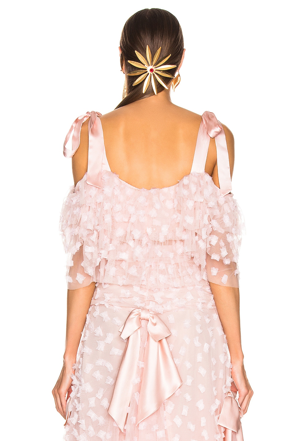 Image 3 of Rodarte Embroidered Bow Tiered Off the Shoulder Blouse in Pink