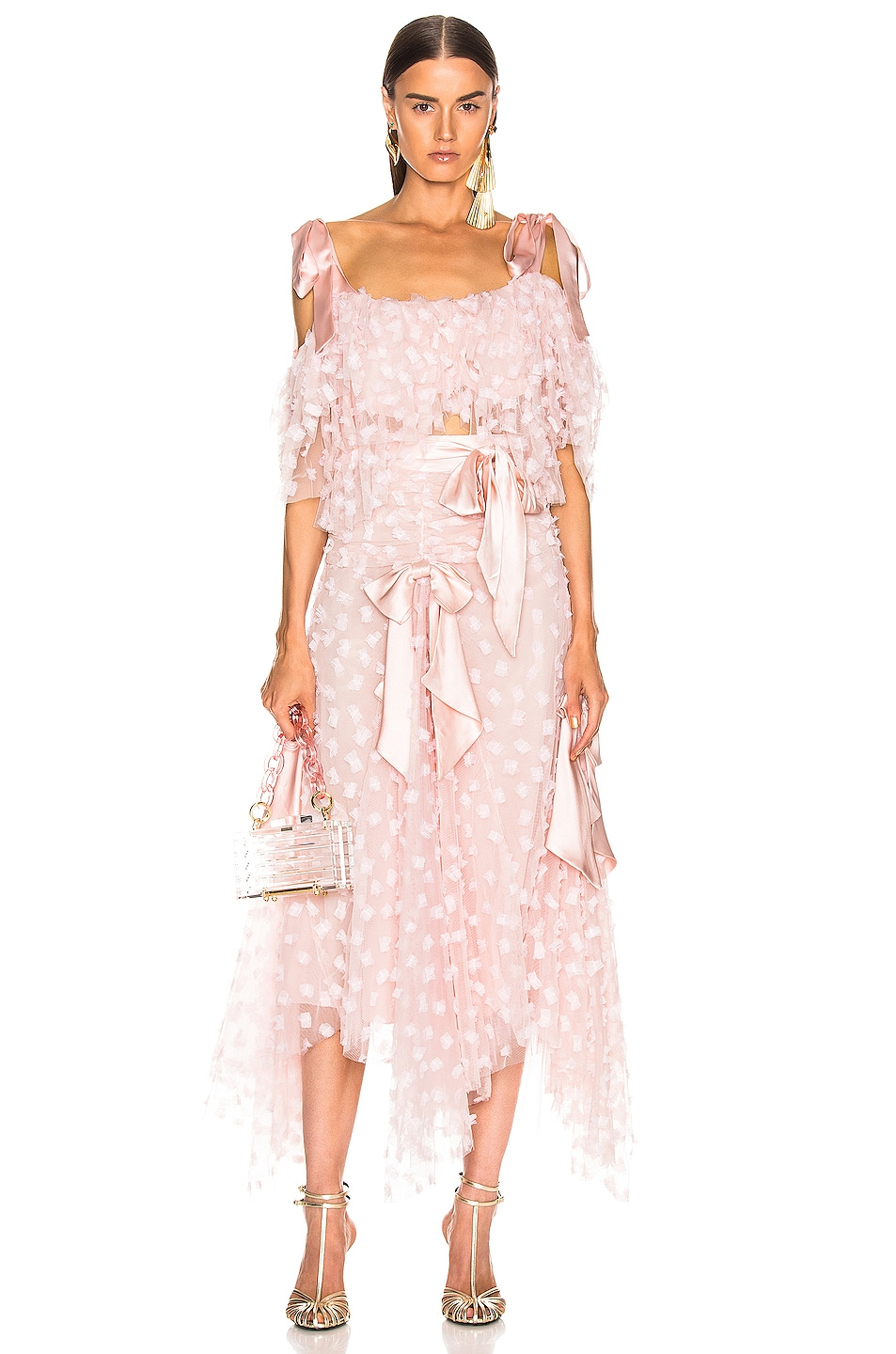 Image 4 of Rodarte Embroidered Bow Tiered Off the Shoulder Blouse in Pink