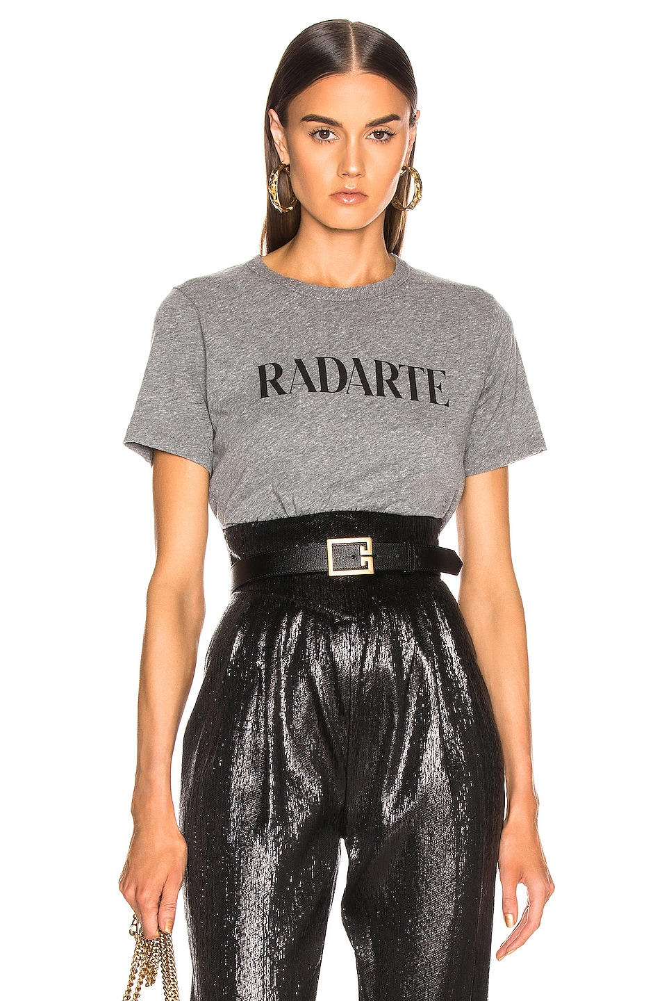 Image 1 of Rodarte Cropped Radarte T Shirt in Grey & Black