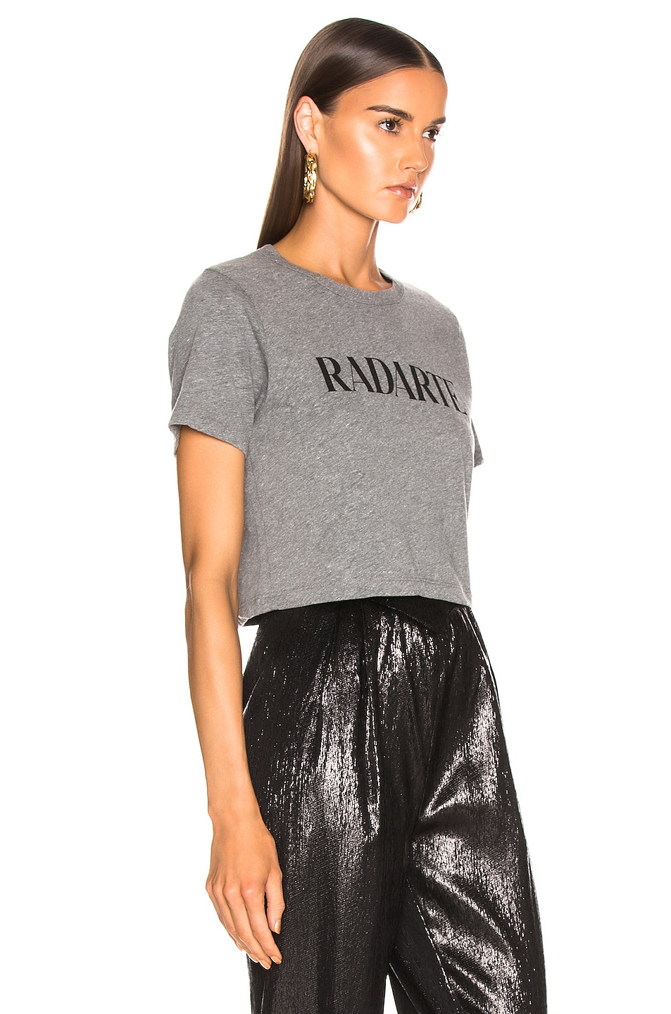 Image 2 of Rodarte Cropped Radarte T Shirt in Grey & Black