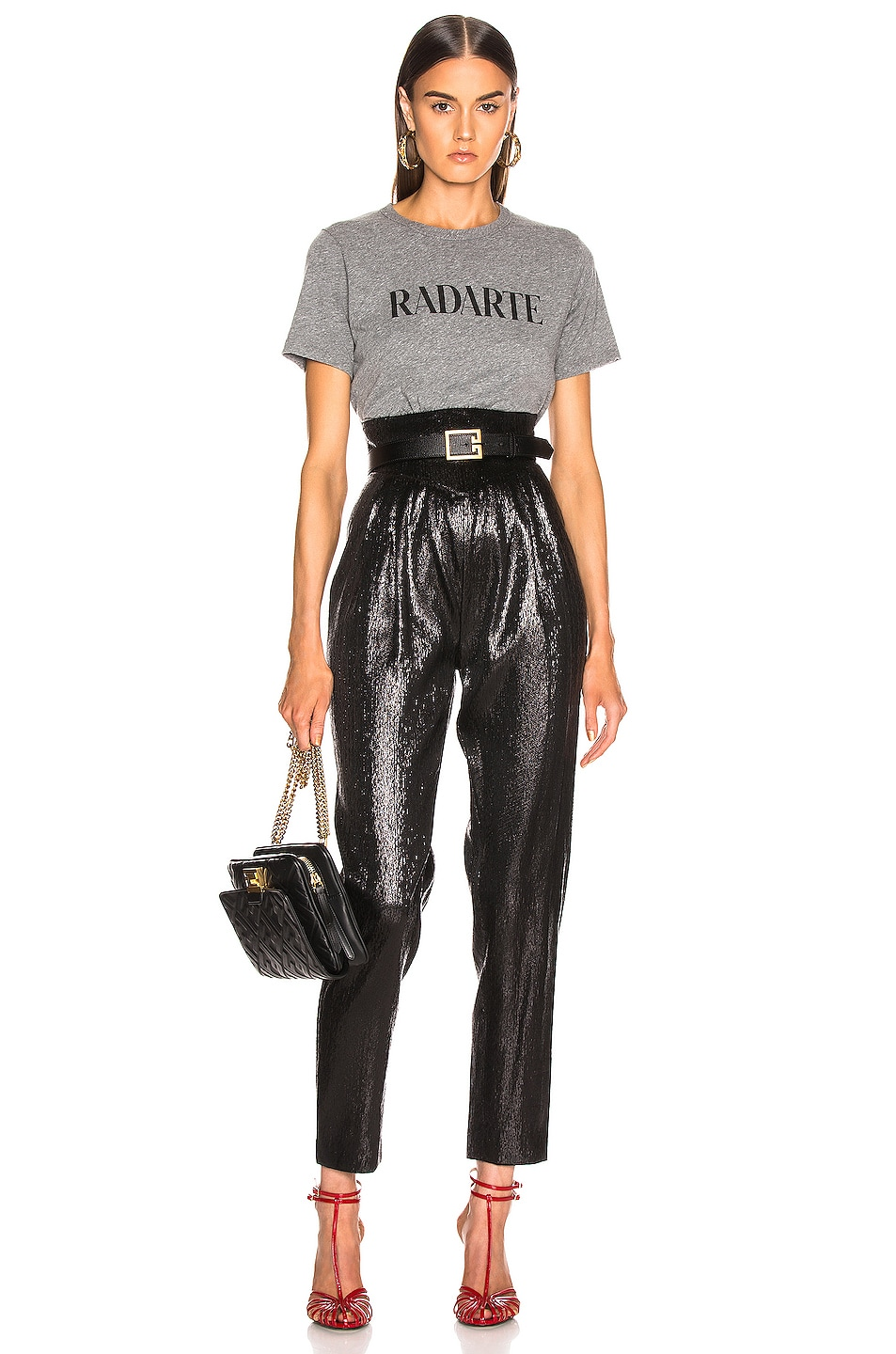 Image 4 of Rodarte Cropped Radarte T Shirt in Grey & Black