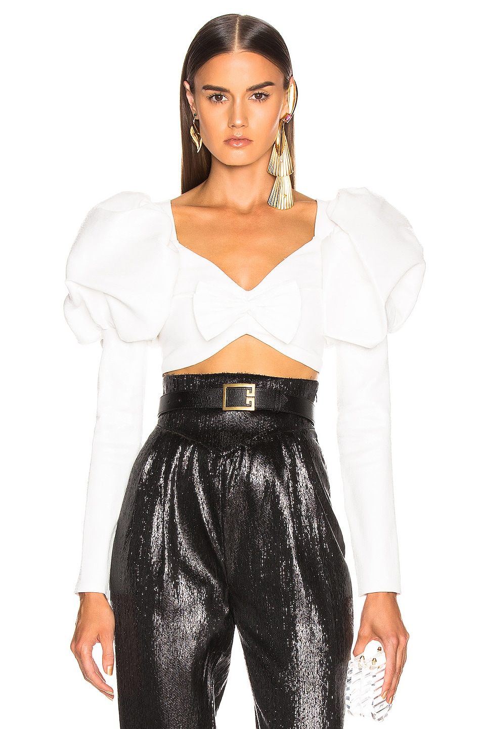 Image 1 of Rodarte Cropped Bustier Bow Top in White