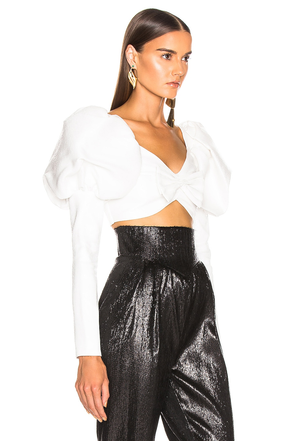 Image 2 of Rodarte Cropped Bustier Bow Top in White