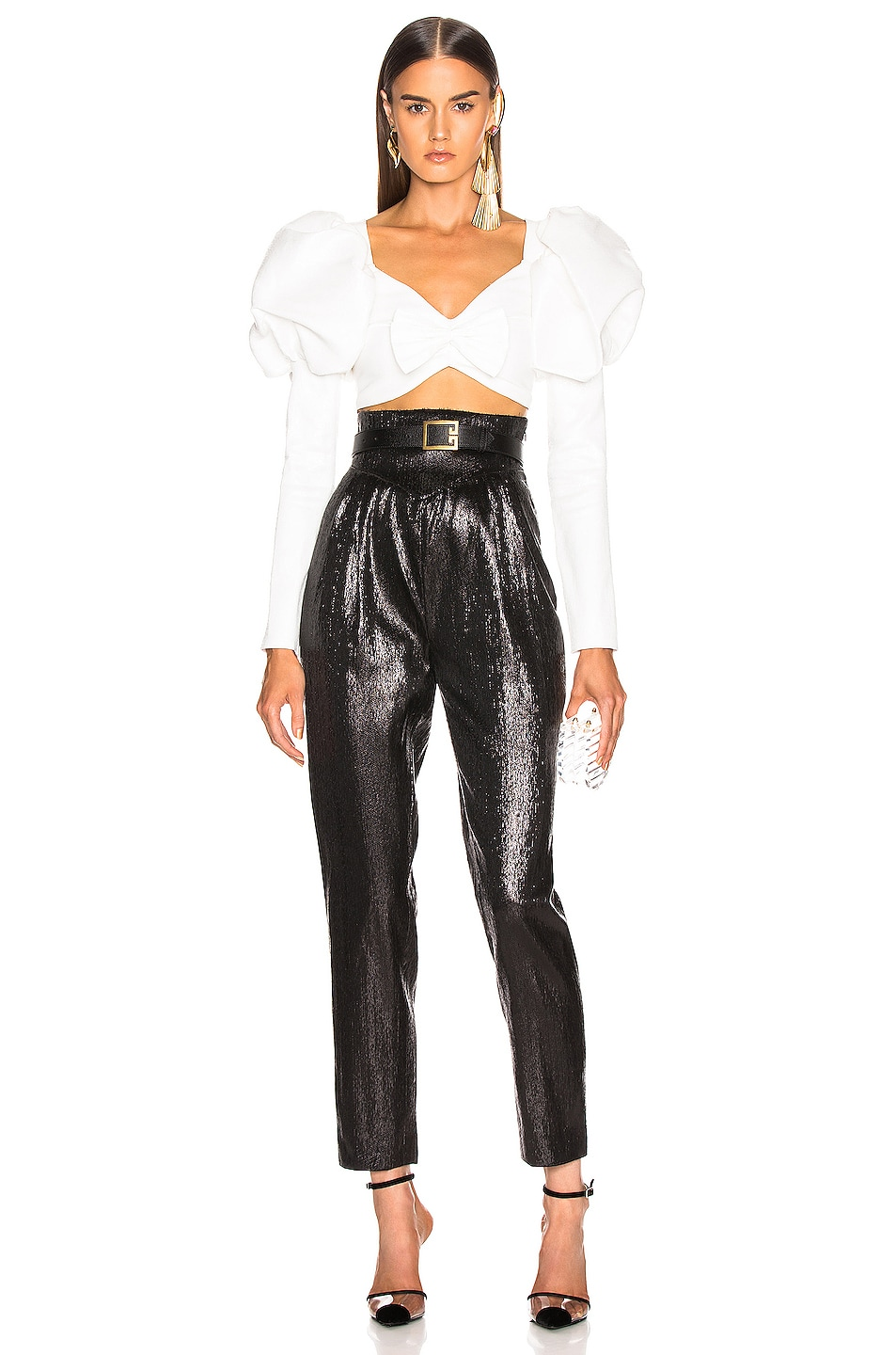 Image 4 of Rodarte Cropped Bustier Bow Top in White