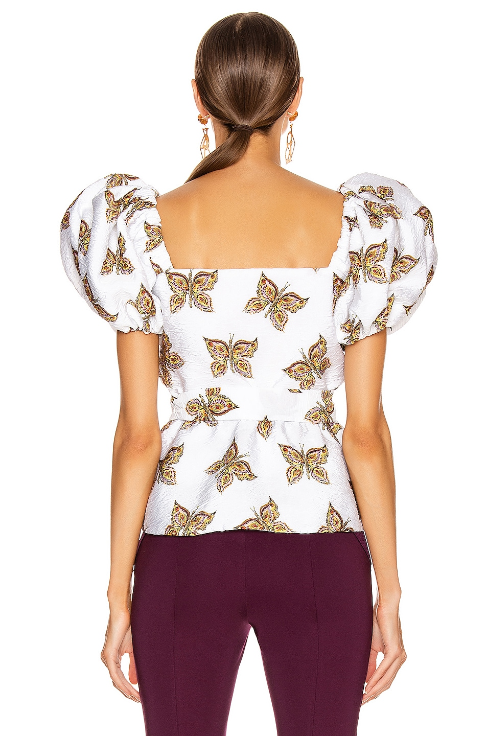Image 3 of Rodarte Butterfly Cinch Waist Blouse in White