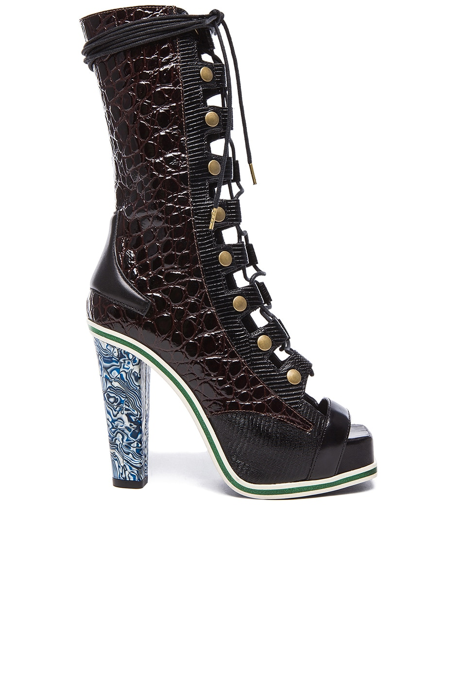 Image 1 of Rodarte Embossed Lizard Leather Lace Up Booties in Black