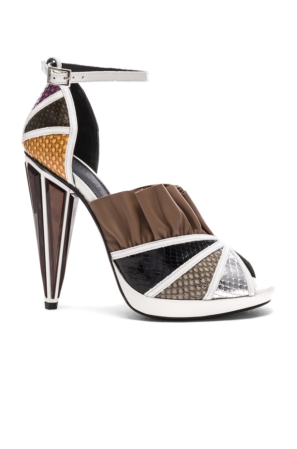 Image 1 of Rodarte Embossed Metallic Leather Strap Heels in White