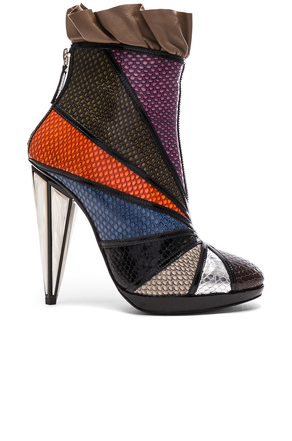 Image 1 of Rodarte Embossed Metallic Leather Ankle Booties in Multi