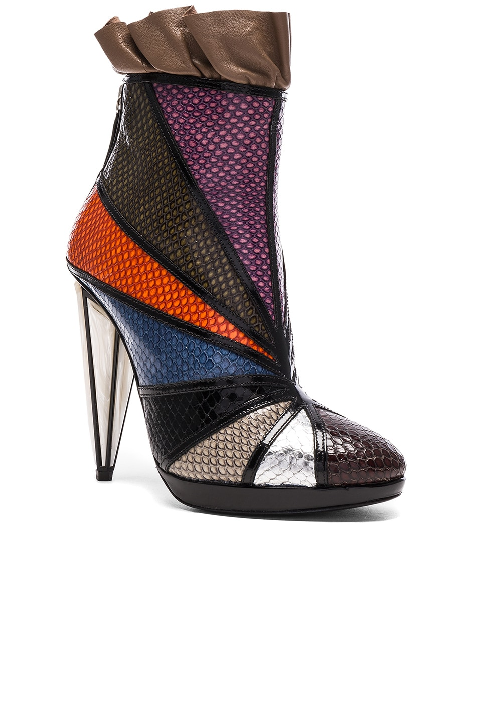 Image 2 of Rodarte Embossed Metallic Leather Ankle Booties in Multi