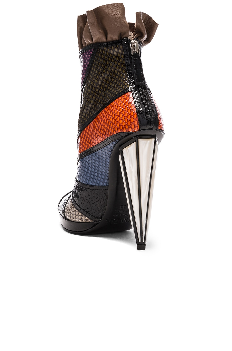 Image 3 of Rodarte Embossed Metallic Leather Ankle Booties in Multi