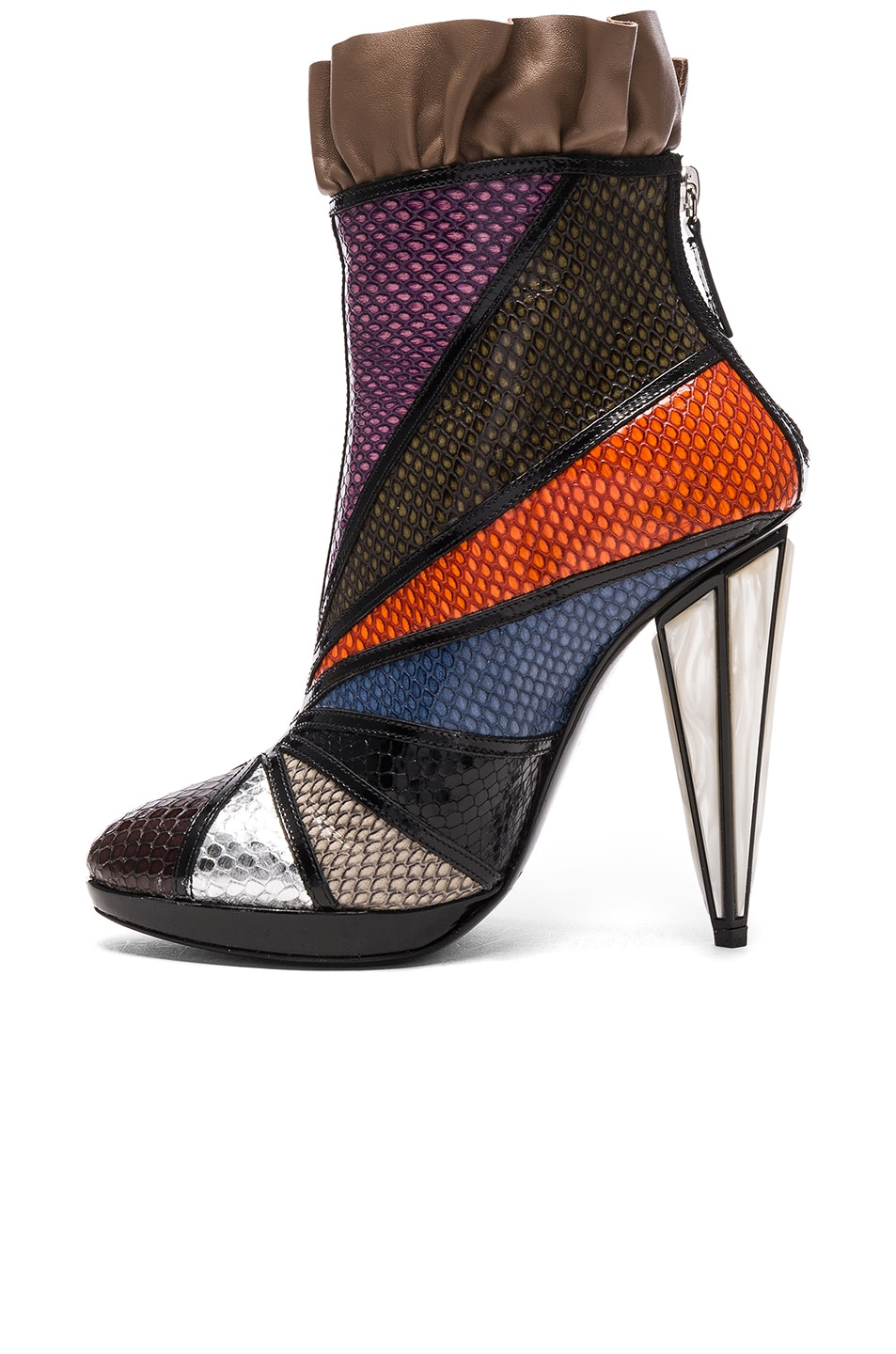 Image 5 of Rodarte Embossed Metallic Leather Ankle Booties in Multi
