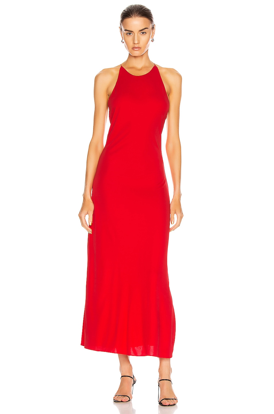 Image 1 of Rosetta Getty Cross Back Slip Dress in Red