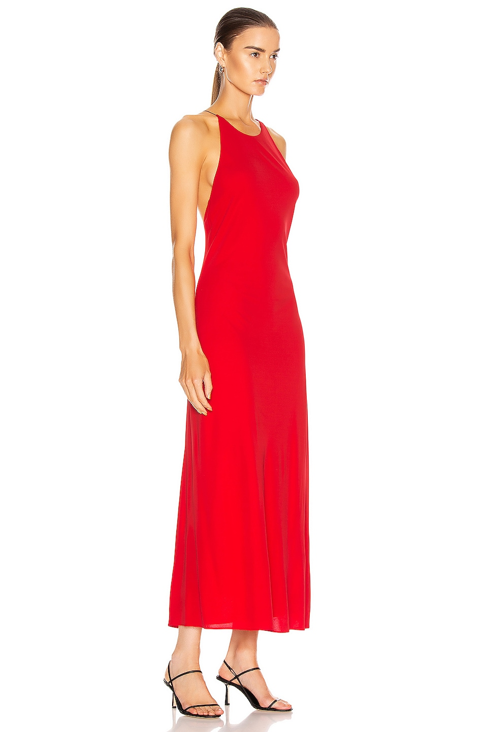 Image 2 of Rosetta Getty Cross Back Slip Dress in Red