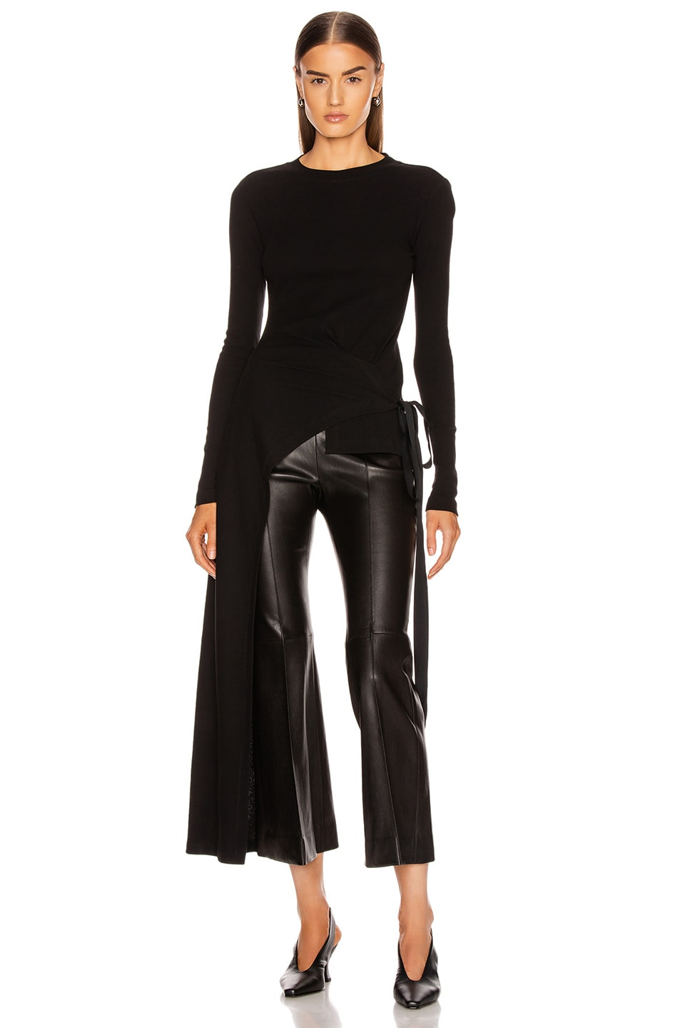 Image 1 of Rosetta Getty Long Sleeve Apron Wrap T Shirt in Black