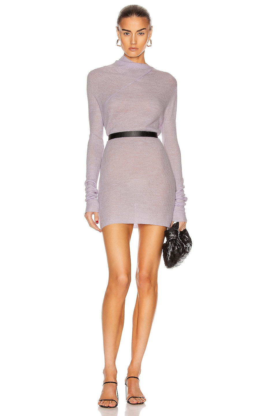 Image 1 of Rosetta Getty Long Sleeve Drape Neck Sweater in Lilac