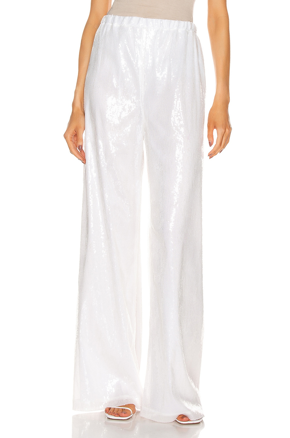 Image 1 of Rosetta Getty Drawstring Sequin Straight Leg Pant in Clear